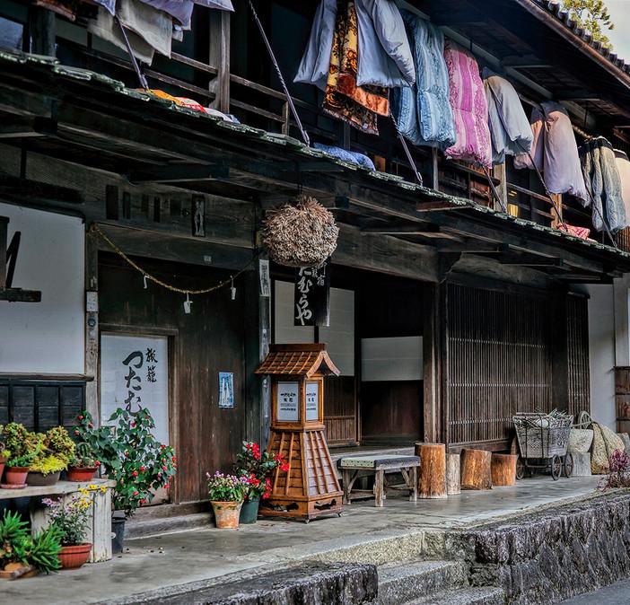 Traditional ryokan; hanging down comforters, Nakasendo Trail, Japan