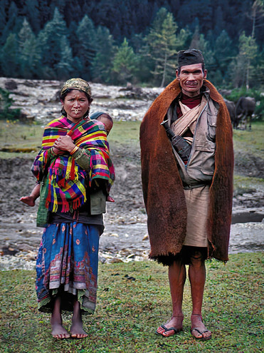 Nepali Gothic, Young family wandering high in the Himalaya; Nepal