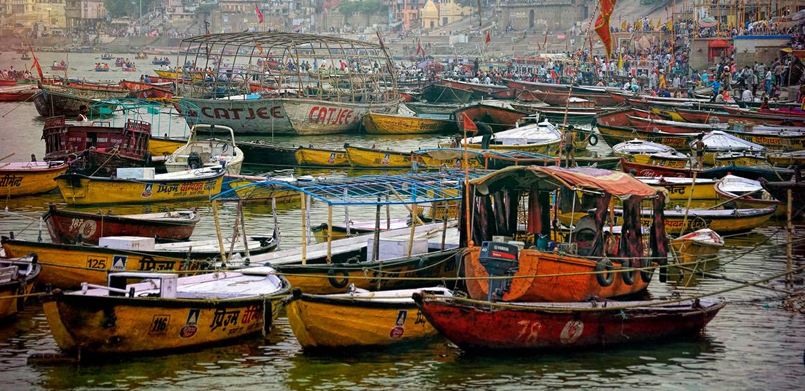 Boats on the Ganges; Varanasi, India
