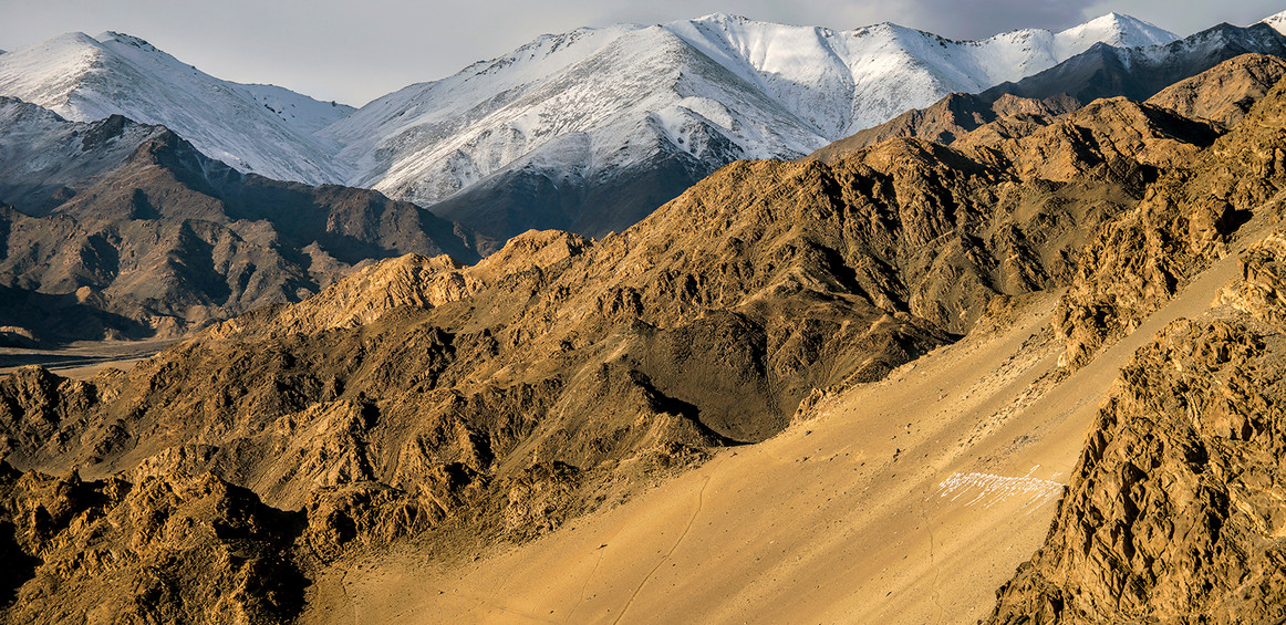 Ladakh landscape; surrounded by the Himalayas