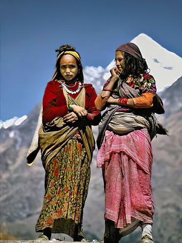Women on a rooftop in Jafal; Nepal