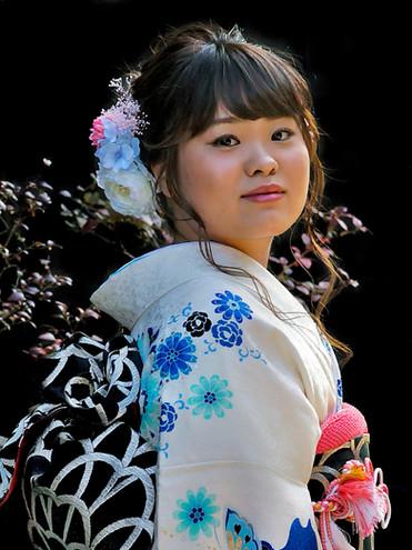 Young woman walking in Takayama, Japan