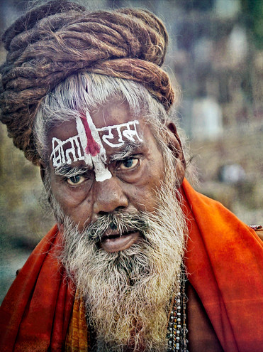Portrait of Sadhu Holy Man; banks of the Ganges, India