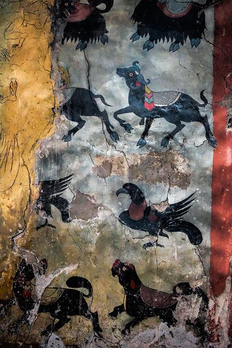 Animal mural, Thikse Monastery, Ladakh