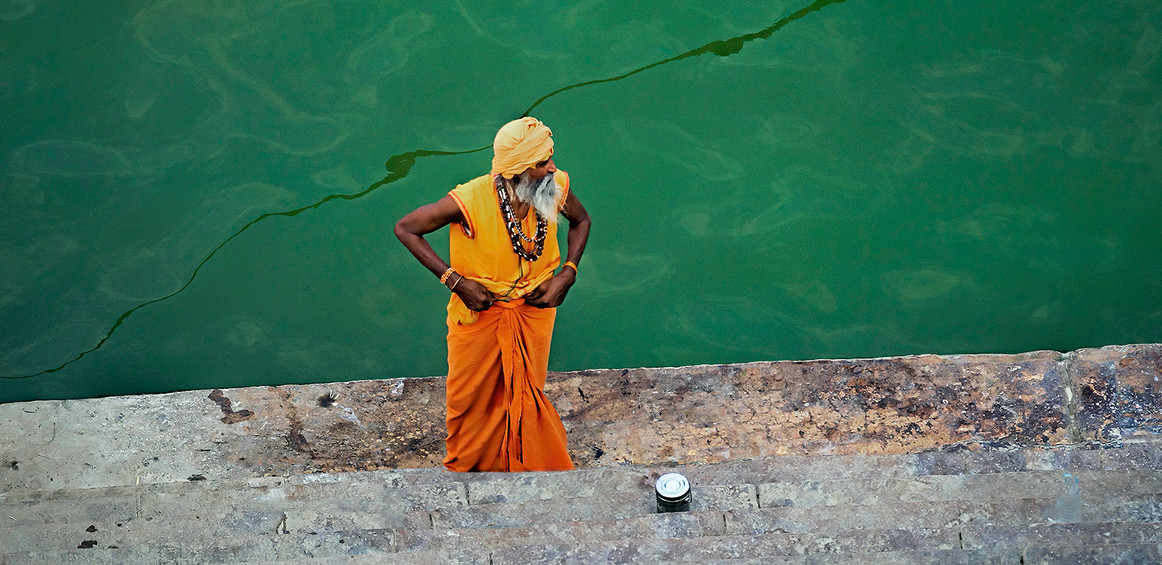 On the steps of the Ganges; morning ablution