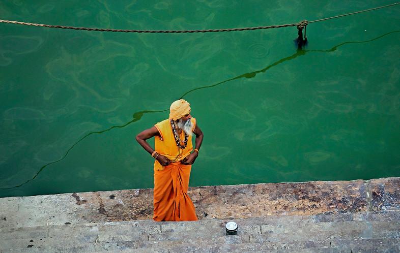 Sadhu on the Ghat at  Manikarnika