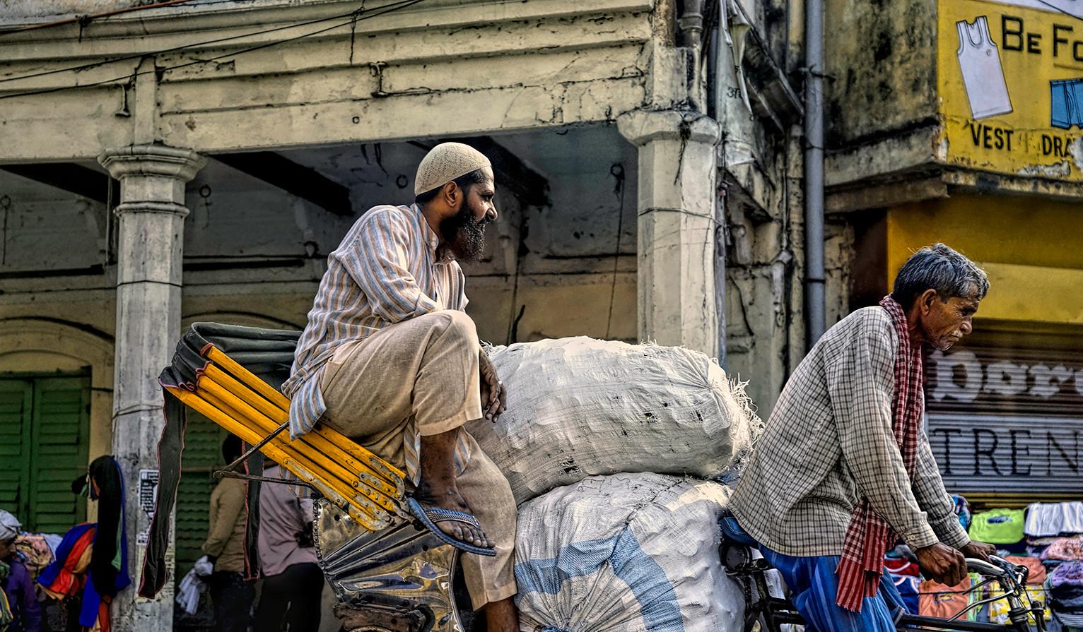 Heading to market in Old Delhi, India