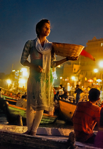 Selling Votive Flowers on the Ganges