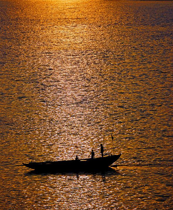 Boat on the Ganges at Sunrise