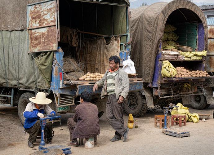 Potato Vendors; Xizhou,China