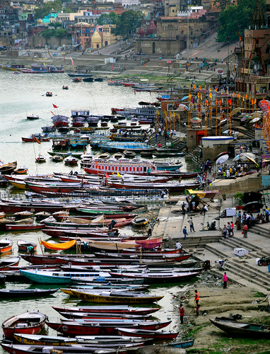 Traditional Wooden Row Boats on the banks of the Ganga (Ganges River)