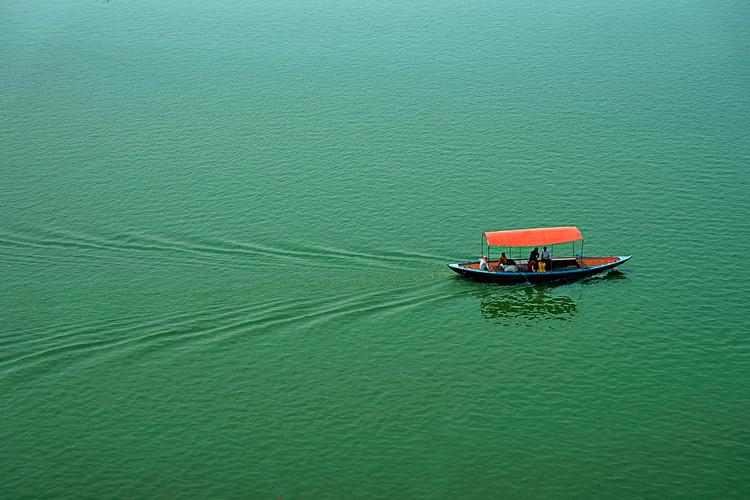 Covered boat on Ganges