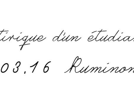 Le journal satirique d'un étudiant anonyme du 6 mars : Ruminons !