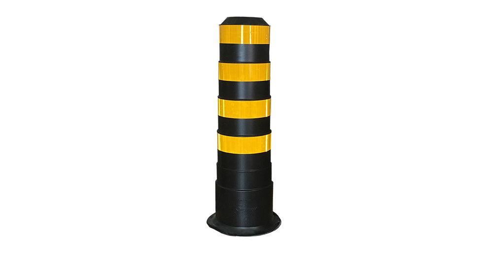 BIG Bollard - yellow HI stripes