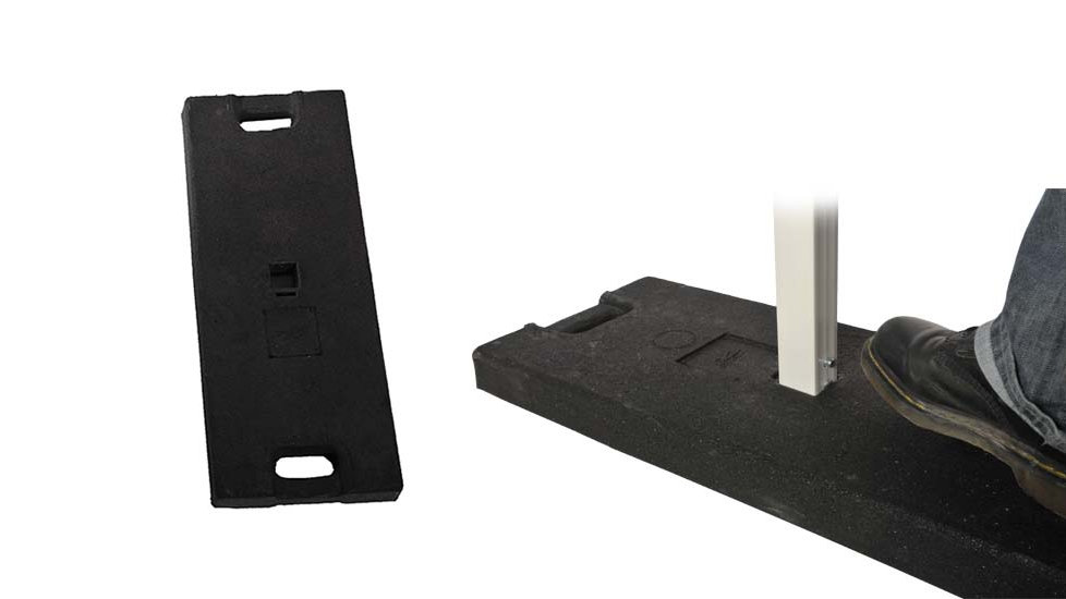 Recycled rubber base with handle