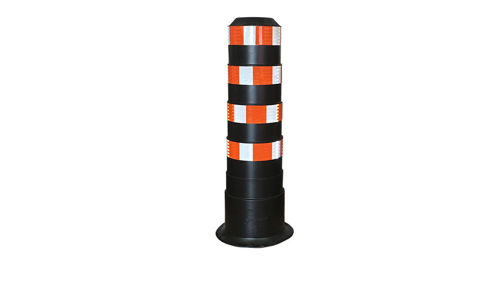 BIG Bollard - white & orange HI stripes