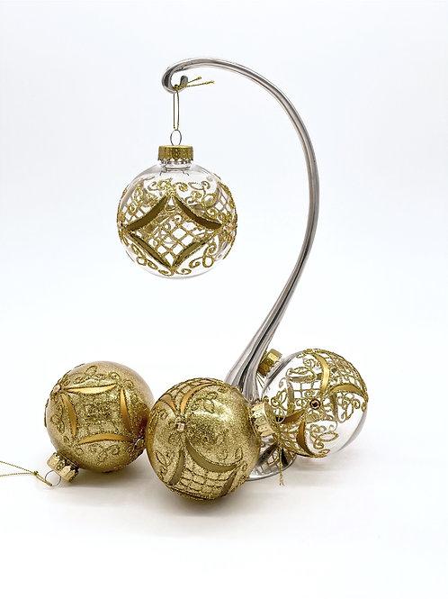 Set of 4 Gold Lattice Ornaments