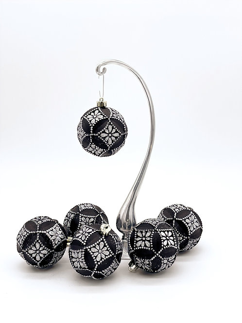 Set of 6 Black and Silver Faceted Ornaments