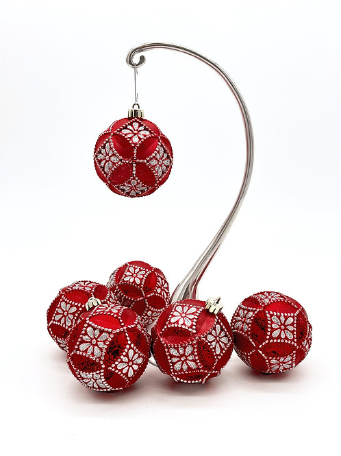 Set of 6 Red and Silver Faceted Ornaments