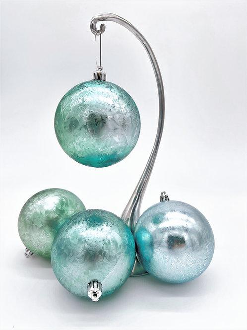 Set of 4 Ice Blue Brushstroke Orbs