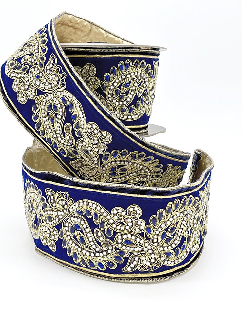 Royal Blue Velvet Paisley Ribbon