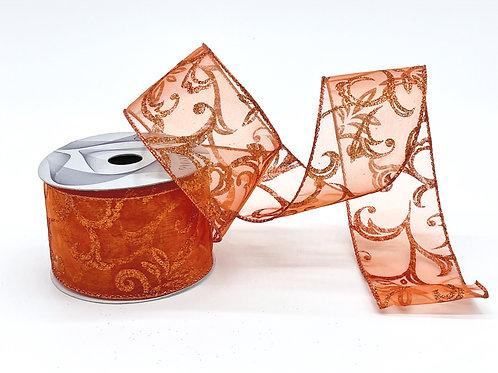 Sheer Copper Scroll Ribbon