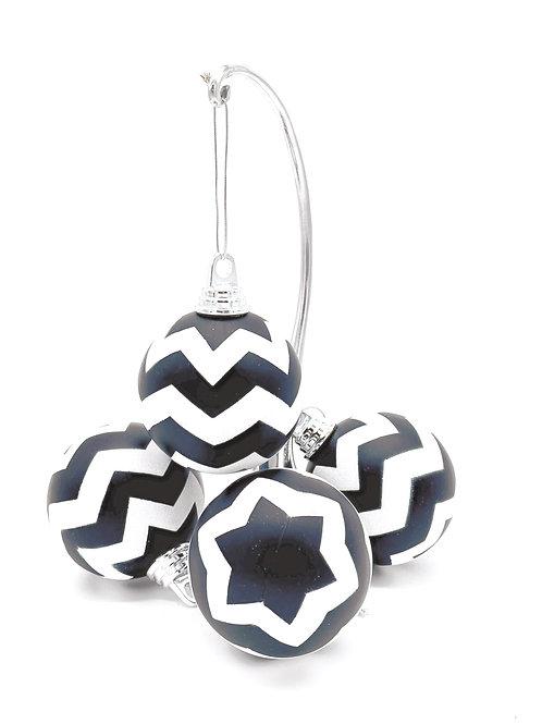 Set of 4 Black and White Chevron Ornaments
