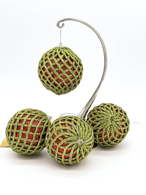 Set of 4 Red and Apple Green Net Ornaments