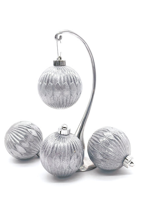 Set of 4 Silver Ridged Ornaments