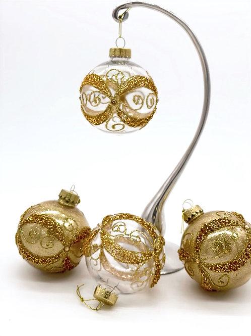 Set of 4 Gold Figure 8 Ornaments