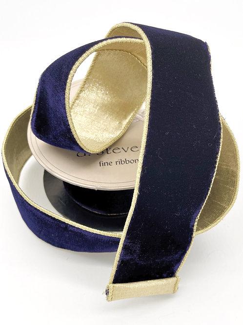 Navy Velvet Double Sided Ribbon