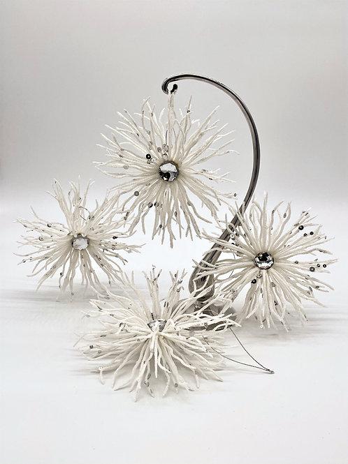 Set of 4 White Snowflake Ornaments
