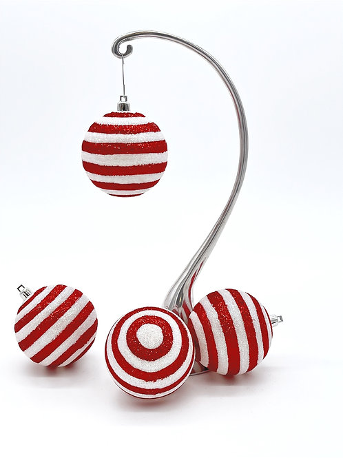 Set of 4 Striped Ornaments