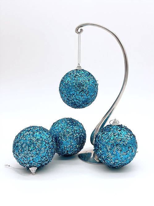 Set of 4 Turquoise Glitter Ball Ornaments