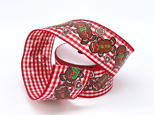 Gingerbread Red Gingham Ribbon