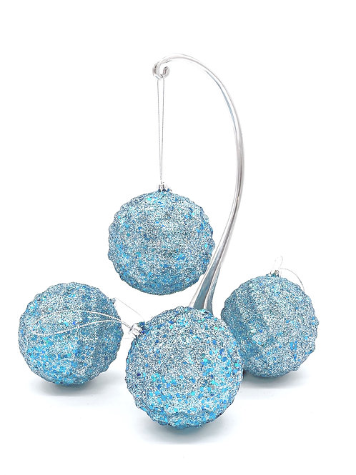 Set of 4 Ice Blue Waffled Ornaments