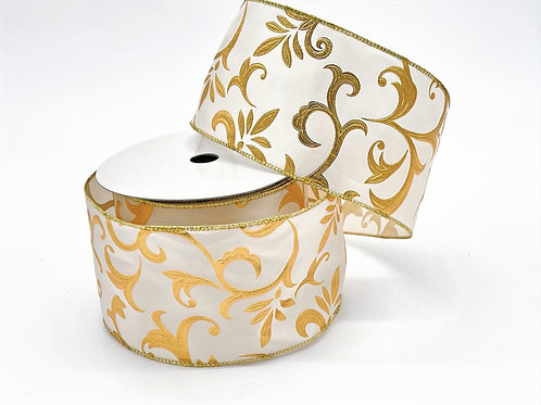 Ivory and Gold Ancanthus Ribbon
