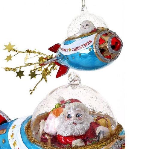 Santa In A Rocketship Ornament