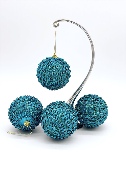Set of 4 Textured Turquoise Ornaments