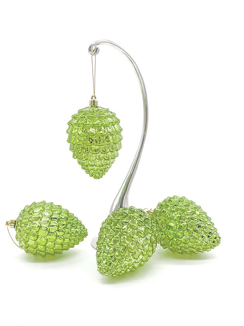 Set of 4 Apple Green Pinecone Ornaments