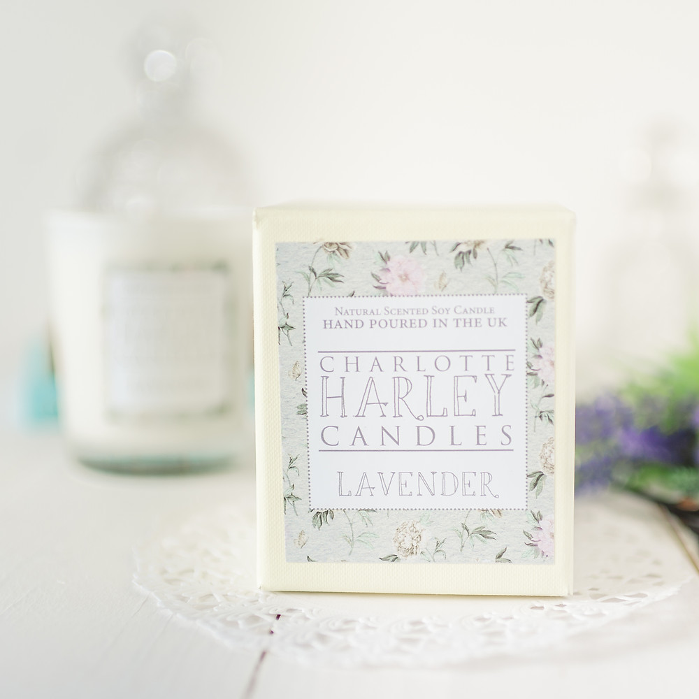 Lavender candle and box