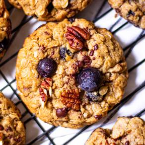 Biscuits à l'avoine, bleuets, pacanes et chocolat