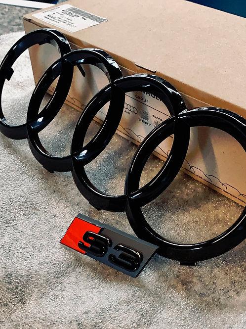 Audi S3 schwarze Embleme vorne SET
