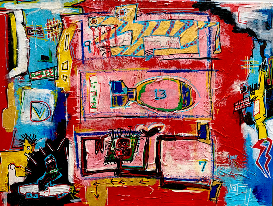 Boxed In Burnt Out  Painting:Acrylic on canvas 80x60cm This is a bright bold acrylic painting expressing a feeling of being trapped boxed in. The main character is trying to find a way out while his exit is being barred by other characters.