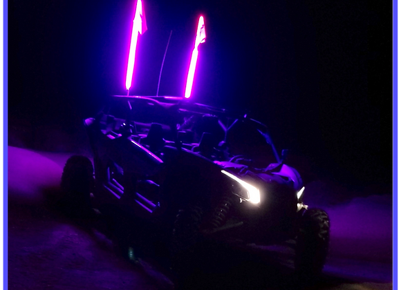 LED Light Whip 4&6 Foot Purple W/Included Quick Disconnect Pyramid LED Whips