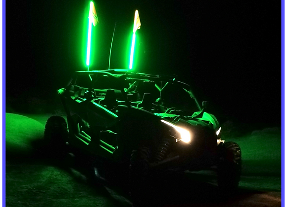 LED Light Whip 4&6 Foot Green W/Included Quick Disconnect Pyramid LED Whips