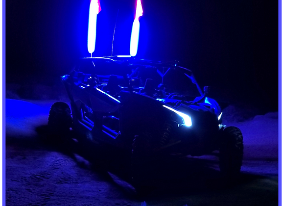 LED Light Whip 4&6 Foot Blue W/Included Quick Disconnect Pyramid LED Whips