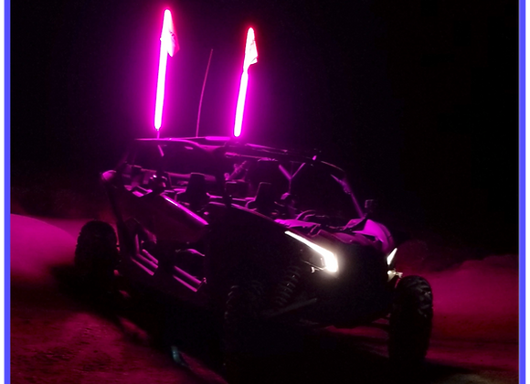 LED Light Whip 4&6 Foot Pink W/Included Quick Disconnect Pyramid LED Whips