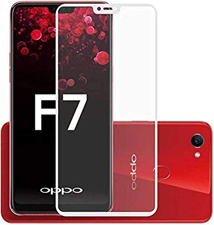 OPPO F7 White 5D Tempered Glass (Full Glue)