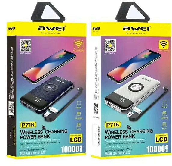 awei P71K 10000mAh Wireless Charging Power Bank.
